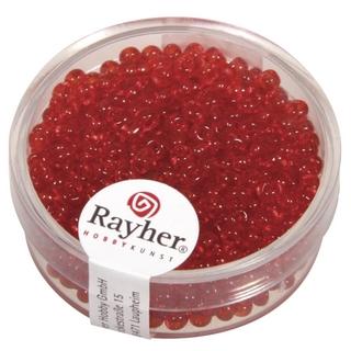 Rocailles, 2,6 mm ø, transparentes rouge