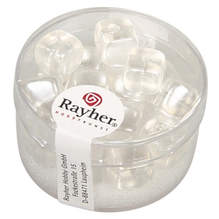 Perles en verre-Cube 8x9 mm blanc neige