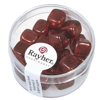 Perles en verre-Cube 8x9 mm rouge Bourgogne