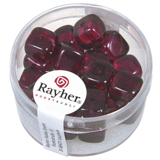 Perles en verre-Cube 8x9 mm violet