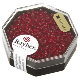 Premium-rocailles, 2,2 mm ø garniture d'argent rouge feu, boîte 8 g
