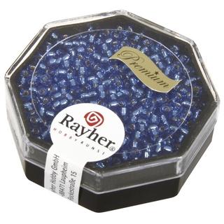 Premium-rocailles, 2,2 mm ø garniture d'argent bleu azur, boîte 12 g