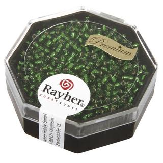 Premium-rocailles, 2,2 mm ø garniture d'argent vert eternel, boîte 12 g