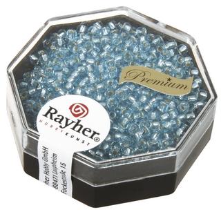 Premium-rocailles, 2,2 mm ø garniture d'argent aigue-marine, boîte 12 g