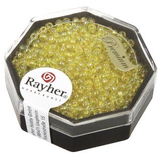 Premium-rocailles, 2,2 mm ø transparent jaune lumineux