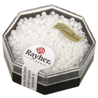 Premium-rocailles, 2,2 mm ø opaque blanc, boîte 12 g