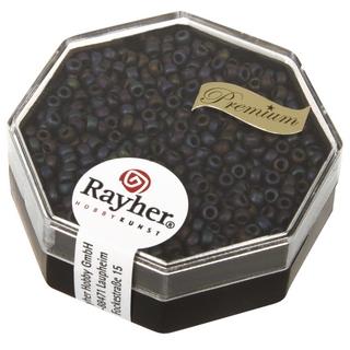 Premium-rocailles, 2,2 mm ø metallic givre gris fonce