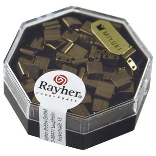 Miyuki-Perle-Tila, metallique 5x5x1,9mm, deux trous ø 0,8 mm cuivre