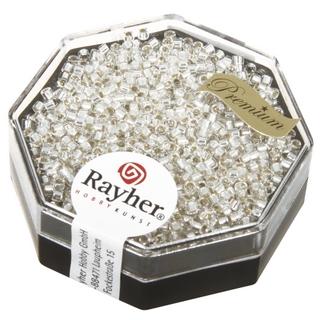 Delica-rocailles, 1,6 mm ø  avec garniture argent cristal de roche