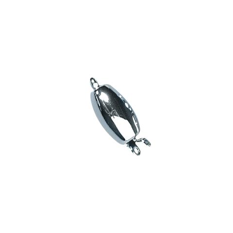 Fermoir bijou,11,7x6,4mm, ovale, lisse 1rang sans nickel,pce argent