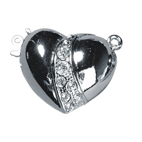 Fermoir en forme de coeur avec strass 19,7x17,9 mm, sans nic argent