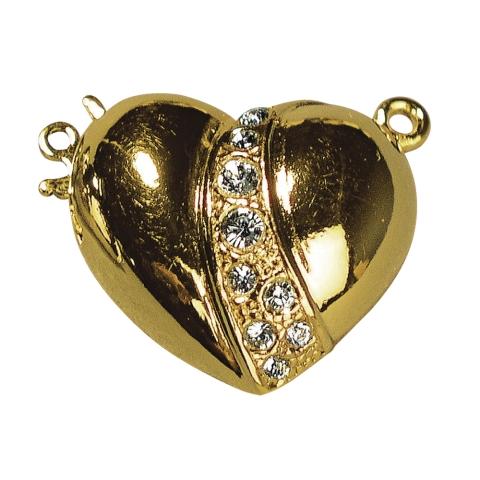 Fermoir en forme de coeur avec strass 19,7x17,9 mm, sans nic dore