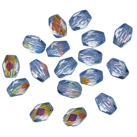 Perles transparentes en verre depolis Olive 6x4 mm, irisees cristal de roche